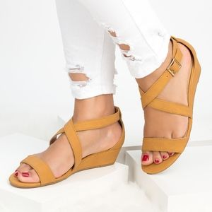 SunnyMia Shoes - Tan Criss Cross Wedge Sandals